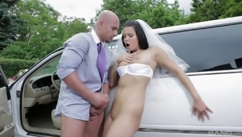 Beautiful Victoria Blaze gets fucked against the car outdoors