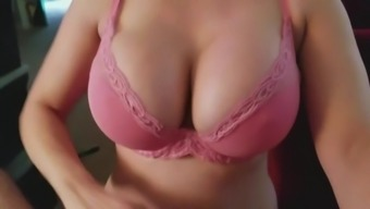 MILF with HUGE fake tits tries on bras and gags on my cock