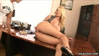 Horny blonde Donna screwed hardcore in the office
