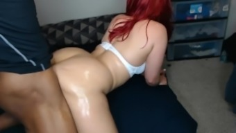 Big booty red head make's guy cum fast from back shots, perfect ass!