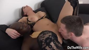 Black Dude Fucks Wife in Ass, Hubby Licks Pussy