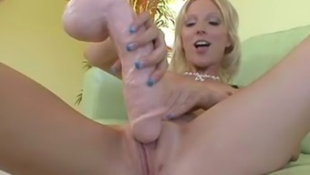 Charming blue eyed blondie Alexia Lynn explores her snatch with monster dildo