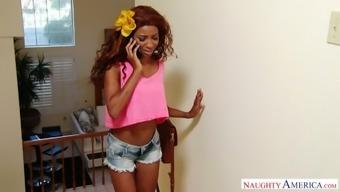 Ebony chick September Reign fucks white boyfriend of best girlfriend