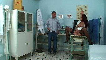 Smoking hot Cindy Dollar fucks with a horny doctor until he cums