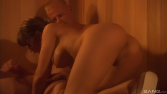 Lucky guy gets to fuck kinky Stephanie Tripp in a sauna