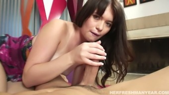 Pale skinned whore with mouth-watering natural tits gives hot blowjob