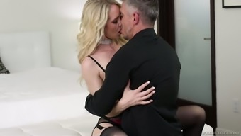 Glamour blonde Ginger Banks is fucked by her horny step daddy