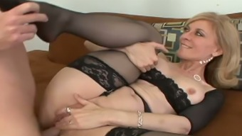 Wanton mature bitch with hot shapes gets ass fucked in doggy pose rough