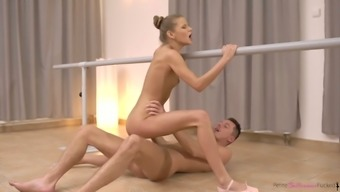 Petite ballerina Sarah Kay is fucked by horny dance partner right on the floor