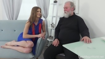 Lusty Czech gal Sarah Kay lures bearded old man for steamy sex