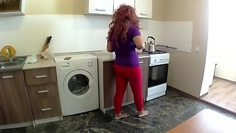 Stepmom and son have anal sex in the kitchen. Mom with big ass real stepson