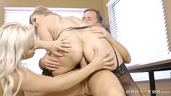 Horny doctor and his nurse giving the patient a threesome treatment