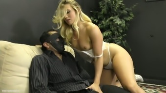Sexy domina AJ Applegate sits on dude's face and makes him lick pussy