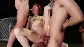 Redhead Alexa Nova dp banged in bondage