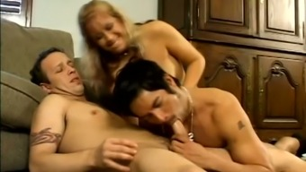 Blonde MILF Desire Moore joins two bisexual dudes for oral petting
