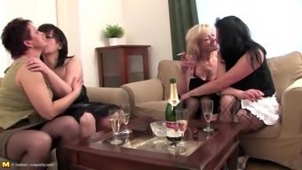 Taboo sex party with 4 mature moms and 1 son