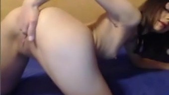 Young girl masturbates with her hand in the vagina (fisting)