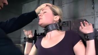 BDSM slave oiledup and canned during bondage