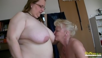 Two mature chicks are playing with one male cock sucking and blowjob