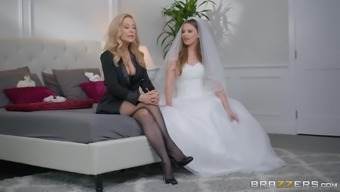 Jillian Janson and Nina Hartley share groom's cock before the wedding