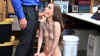 Skinny shoplifter fucked by LP officer