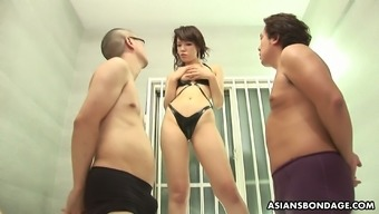 Ardent slender Jap slut Remi Kawamura is properly nailed by two dudes