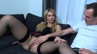 german cute blonde college girl 3some with two students MMF