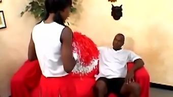 Pigtailed cheerleader Lady Armani gets her black cunt slammed