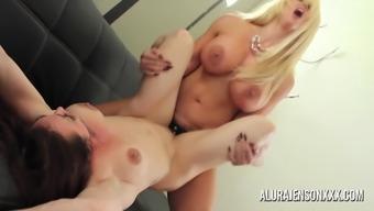 Alura Jenson strapon fun with Brandi Mae
