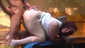 hairy granny outdoor fucked by a young man