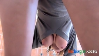 big tits swinging freely in a down blouse