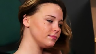 English cum babe in stockings gives blowjob