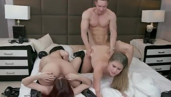 BFFS - Sexy College Teens Group Sex With Big White Cock