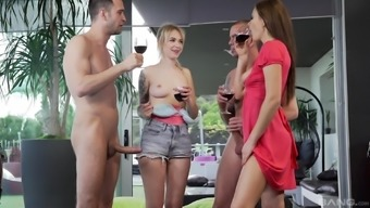 Tina Kay and another chick finally get to play with cocks together