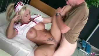 Redhead mom nurse fuck patient in ffm threesome in hospital