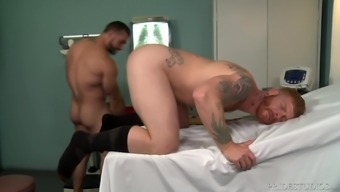 Horny gay ginger doctor pounds his patient's tight asshole hardcore