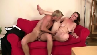 He brings busty boozed old woman home for dirty sex