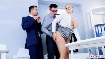 Hot secretary and co worker thressome fucks Steven