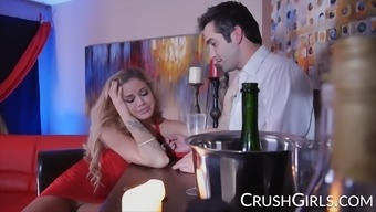 Busty blonde pornstar Jessa Rhodes fucks the bartender