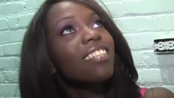Ebony Whitney Williams Tries Huge Gloryhole Cock