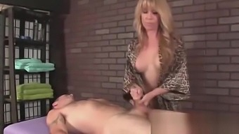Femdom Blonde Izzy Gives A Strong Handjob