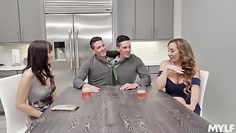 Foursome fucking and a double facial ending - Richelle and Alana
