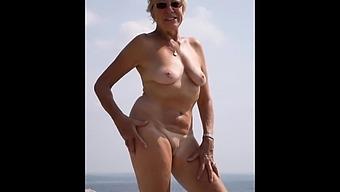 Nude granny on the beach