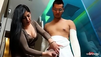Mom helps injured Son pee