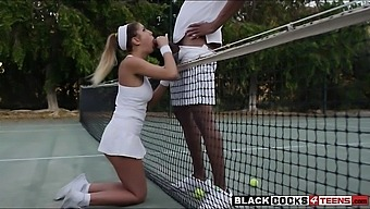 August Ames played tennis and boned hard by huge black cock