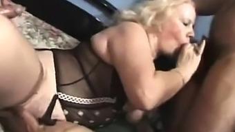 BBW blonde fucks in shower in vintage porn