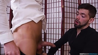 Gay dick sucking and ass drilling on the office table with horny men