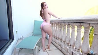 Naughty too pale buxom Amber Addis just loves fingering herself