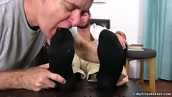 Old guy loves licking dirty socks and feet of his neighbor