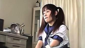 Hot college japanese teen sucks cock and fucks like maniac